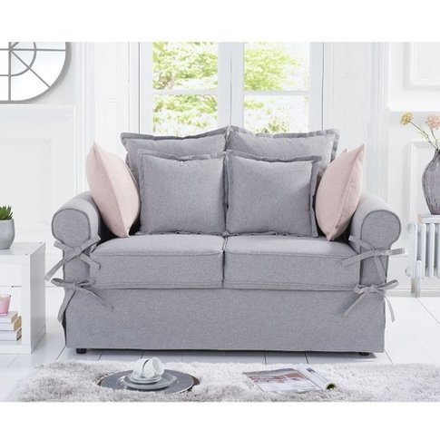 Riggs Linen Two Seater Sofa In Grey With Padded Seat...