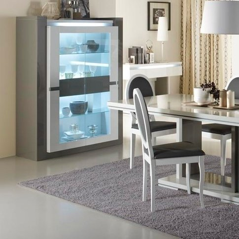 Renoir Display Cabinet In Taupe And Grey Gloss With ...