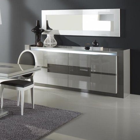 Renoir Sideboard In Taupe And Grey Gloss With Lights