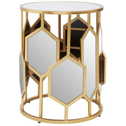 Rio Metal Side Table In Gold With Mirrored Glass Top