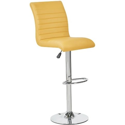 Ripple Bar Stool In Curry Faux Leather With Chrome Base