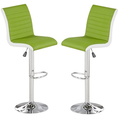 Ritz Bar Stool In Lime And White Faux Leather In A Pair