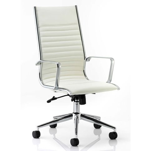 Ritz Leather High Back Executive Office Chair In Ivory
