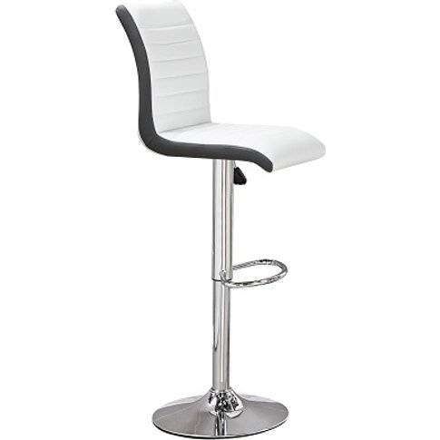 Ritz Bar Stool In White And Black Faux Leather With ...