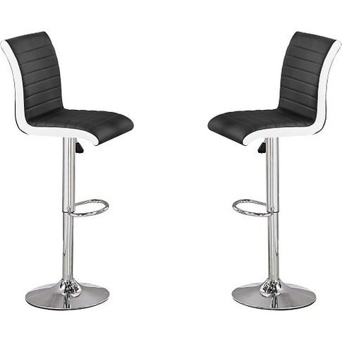 Ritz Bar Stools In Black And White Faux Leather In A...