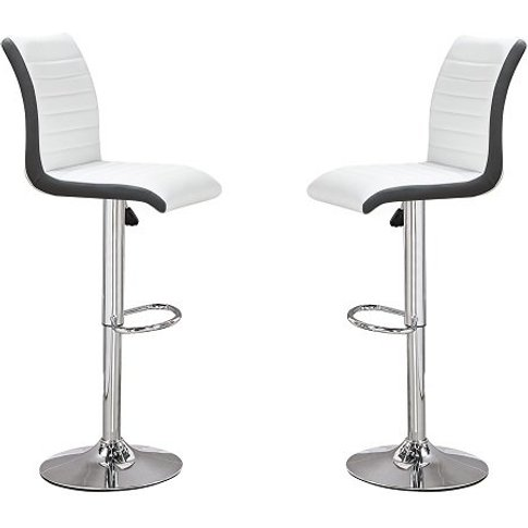 Ritz Bar Stools In White And Black Faux Leather In A...