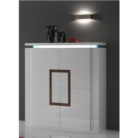 Garde Sideboard In White Gloss And Walnut With LED L...