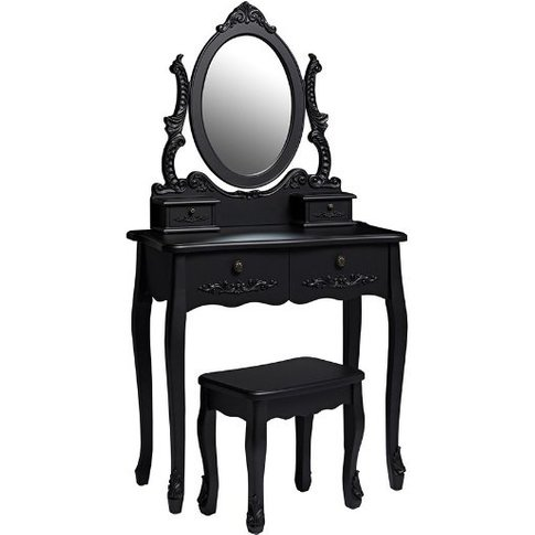 Robena Wooden Dressing Table Set In Black