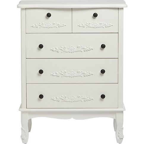 Robena Wooden Chest Of Drawers Large In White With 5...