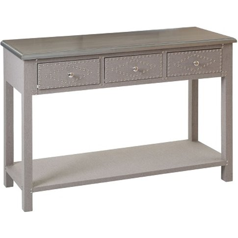 Robert Console Table In Stone Linen With 3 Drawers