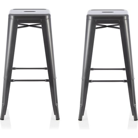 Rocky 66cm Bar Stools In GunMetal In A Pair