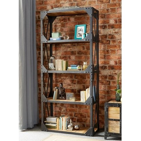 Romarin Large Bookcase In Reclaimed Wood And Metal F...