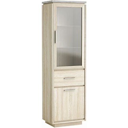 Romford Glass Display Cabinet Narrow In Shannon Oak ...