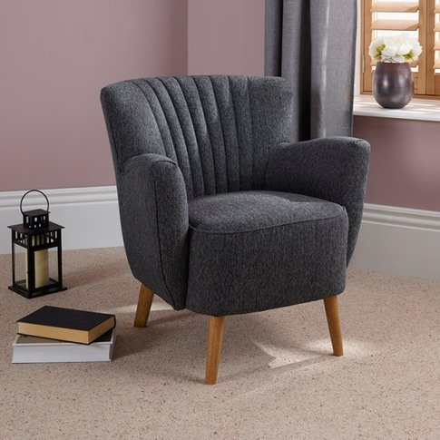 Rosario Fabric Lounge Chair In Charcoal With Wooden ...