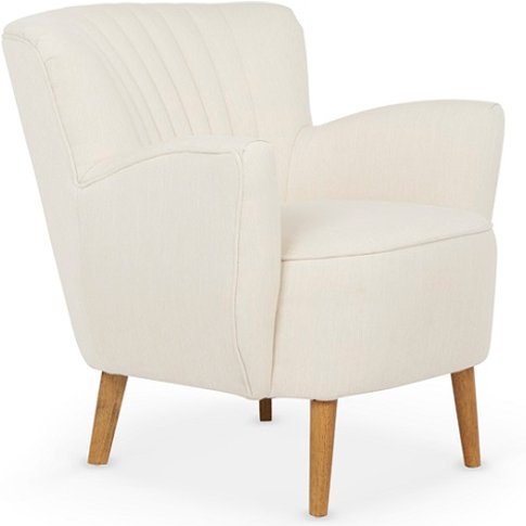 Rosario Fabric Lounge Chair In Cream With Wooden Legs
