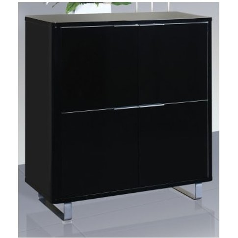 Roseta Storage Cabinet In Black High Gloss With 4 Doors