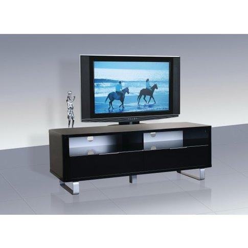 Roseta Tv Stand Rectangular In Black High Gloss With Steel Legs