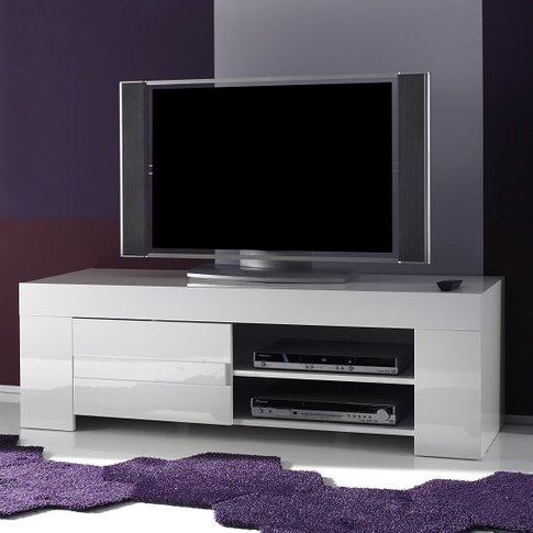 Rossini Contemporary TV Stand In White Gloss With 1 ...