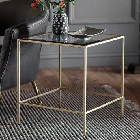 Rothmont Clear Glass Side Table With Champagne Metal Frame