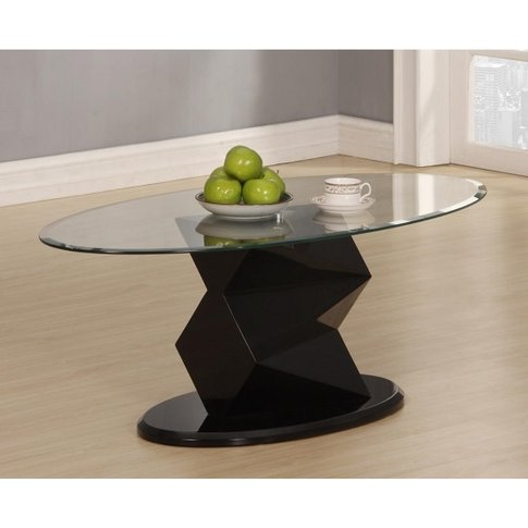 Aruba Coffee Table Oval In Clear Glass And Black Hig...
