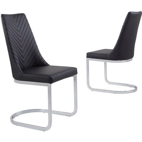 Roxy Modern Dining Chair In Black Faux Leather In A ...