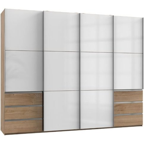 Royd Wooden Sliding Wardrobe In White And Planked Oa...