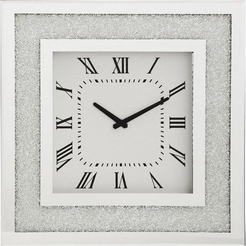 Rubis Mirrored Glass Square Wall Clock In Silver