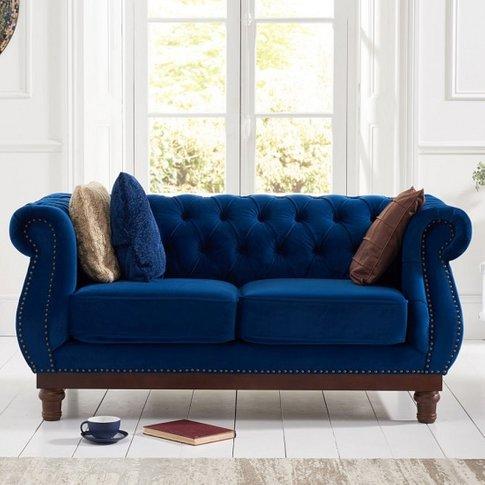 Ruskin 2 Seater Sofa In Blue Plush With Dark Ash Legs