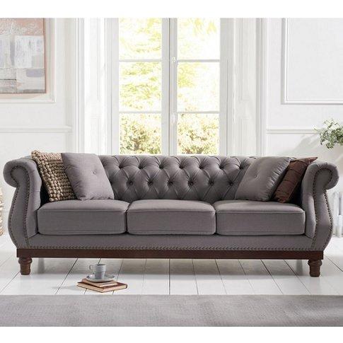 Ruskin 3 Seater Sofa In Grey Linen With Dark Ash Legs