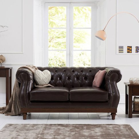 Ruskin 2 Seater Sofa In Brown Leather With Dark Ash ...