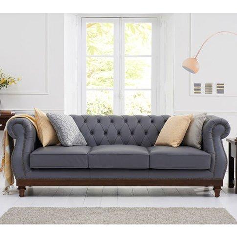 Ruskin 3 Seater Sofa In Grey Leather With Dark Ash Legs
