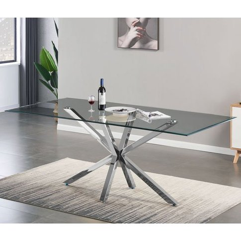 Russo Glass Dining Table In Clear With Silver Steel ...