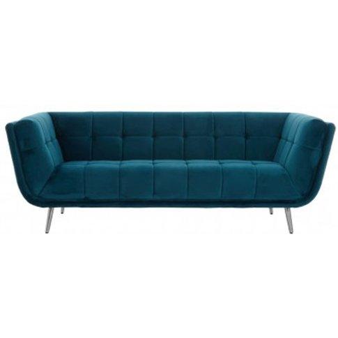 Sabina 3 Seater Fabric Sofa In Teal