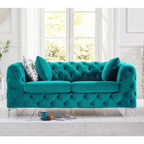 Sabine Velvet Two Seater Sofa In Teal Grey With Meta...