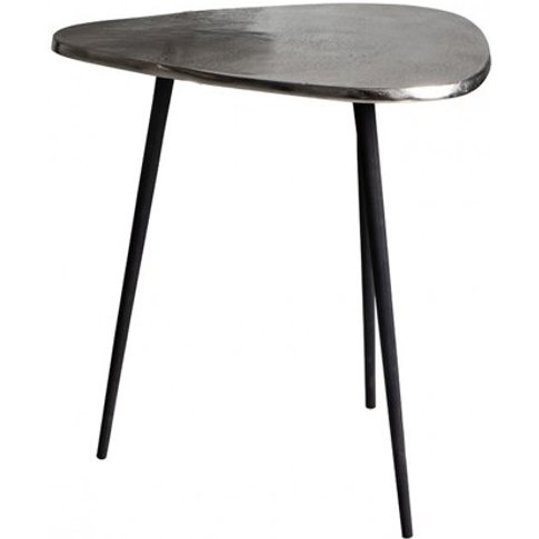Sabre Metal Small Side Table In Silver And Black