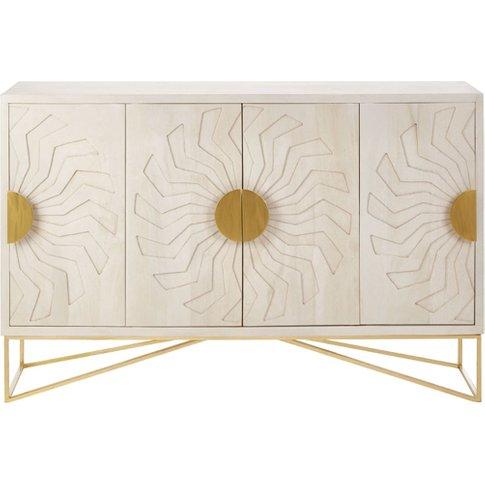 Nekkar Wooden Sideboard In White With 4 Doors