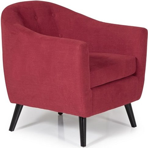 Salix Fabric Lounge Chair In Red With Wooden Legs