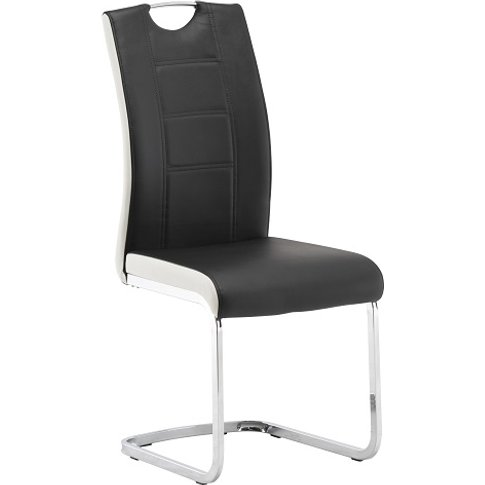 Samson Cantilever Dining Chair In Black And White Fa...