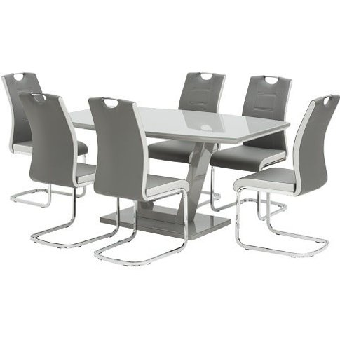Samson Glass Dining Table In Grey High Gloss With 6 ...