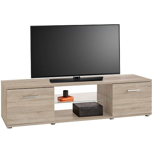 San Diego Wooden Tv Stand In Brushed Oak With 2 Doors