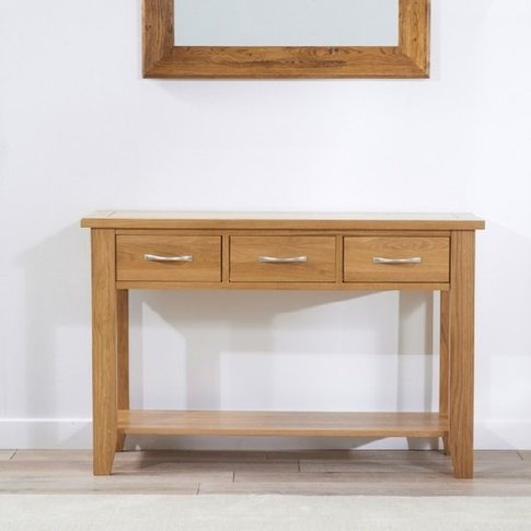 Abelia Console Table Rectangular In Oak With 3 Drawers