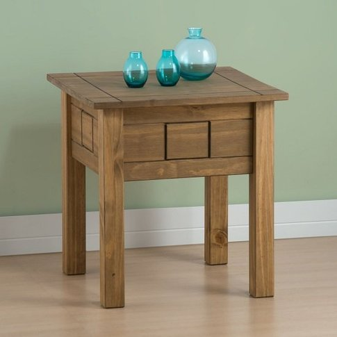 Santiago Wooden Lamp Table In Distressed Pine
