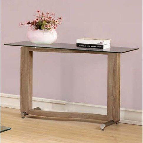 Manta Clear Glass Console Table With Walnut Base