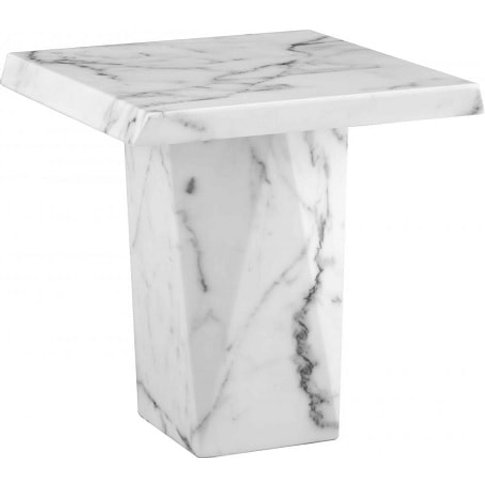 Sardinia Contemporary Marble Lamp Table Square In White