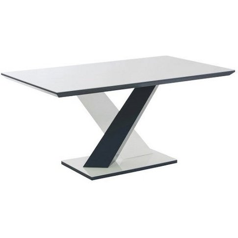 Savio Glass Dining Table In Deep Blue And White High...
