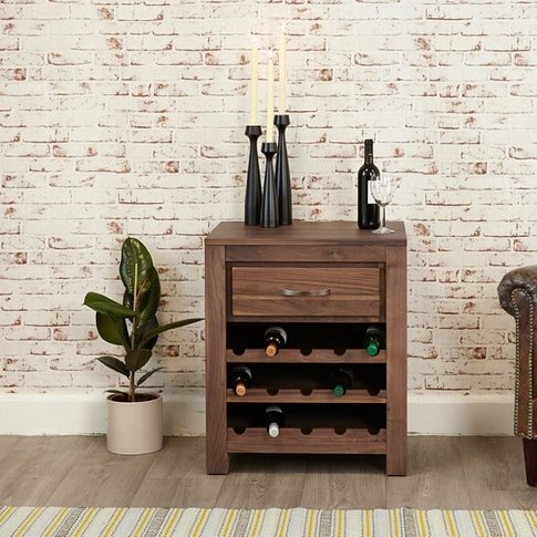 Sayan Wooden Lamp Table Or Wine Rack In Walnut