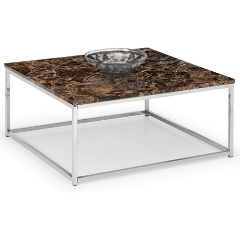 Scala Bronze Marble Top Square Coffee Table With Chr...