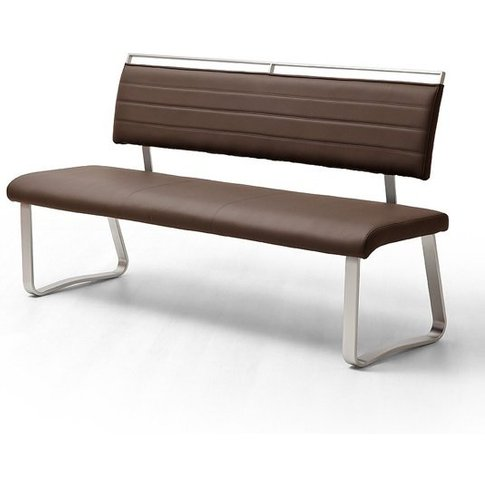 Scala Dining Bench In Brown Pu And Brushed Stainless...