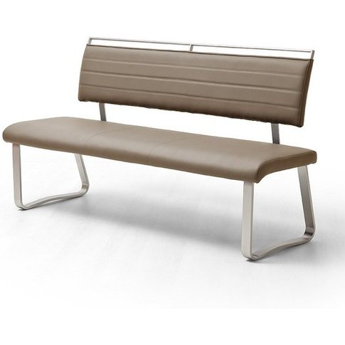 Scala Dining Bench In Cappuccino Pu And Brushed Stai...
