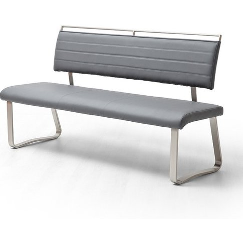 Scala Dining Bench In Grey Pu And Brushed Stainless ...